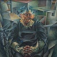 Volumes horizontaux, huile sur toile d'Umberto Boccioni (1912, Pinakothek der Moderne à Munich).  (définition réelle 3323×3347)