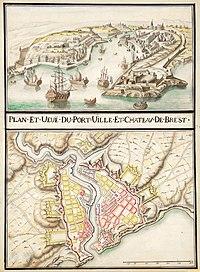Plan projet avec vue en perspective des fortifications de la ville de Brest, vers 1700. (définition réelle 5752×7822)