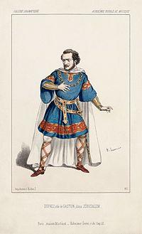 Dessin d'Alexandre Lacauchie représentant Gilbert Duprez interprétant le rôle de Gaston de Béarn dans Jérusalem de Verdi, à l'opéra Le Peletier à Paris en 1847. (définition réelle 2475×4068)