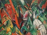 Sous la pluie, huile sur toile de Franz Marc (1912, Lenbachhaus, à Munich). (définition réelle 4523×3414)