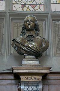 Buste de Blaise Pascal, dans une chapelle latérale de l'église Saint-Étienne-du-Mont, où son corps est enterré. (définition réelle 2953×4438)