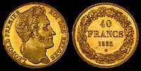 Avers et revers d'une pièce de 40francs belges de 1835, à l'effigie de Léopold Ier. (définition réelle 4449×2250)