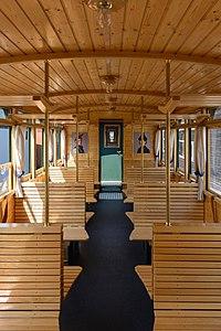 L'intérieur d'une voiture du chemin de fer du Bregenzerwald, chemin de fer à voie étroite, dans le Vorarlberg. (définition réelle 3849×5773)